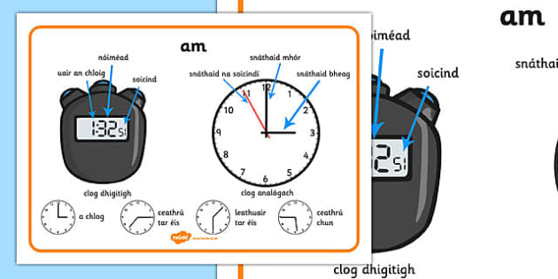 Time Vocabulary Word Mat Gaeilge - time, minute, hour, second, hand, clock, half past, quarter to, quarter past, o clock, o, clock, watch, words, irish, roi, ireland, republic