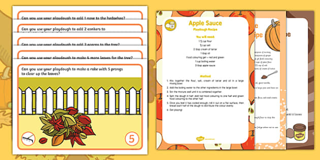 Autumn Number Playdough Recipe and Mat Pack