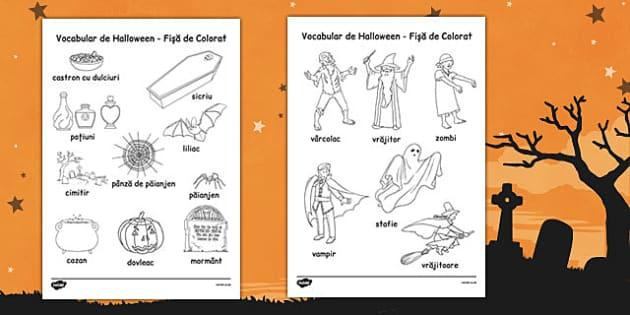 Halloween - Fișe de colorat - Halloween, fișe, colorat, fișă, fișă de lucru, toamna, arte, dexterități, romanian, materiale, materiale didactice, română, romana, material, material didactic