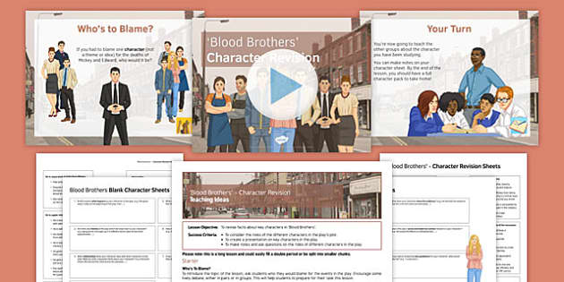Blood Brothers Character Revision Pack - Blood Brothers, Mrs Johnstone, Mrs Lyons, Edward, Mickey, Linda, Sammy, Mr Lyons, Narrator, Characters, Revision