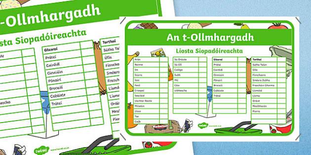 An t-Ollmhargadh The Supermarket Role Play Shopping Checklist Irish Gaeilge Activity Sheet-Irish, worksheet