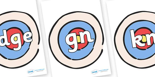 Silent Letters on Targets - Silent Letters, silent letter, letter blend, consonant, consonants, digraph, trigraph, A-Z letters, literacy, alphabet, letters, alternative sounds