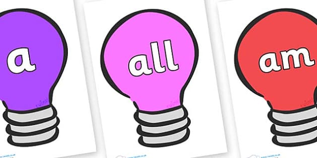 Foundation Stage 2 Keywords on Lightbulbs (Multicolour) - FS2, CLL, keywords, Communication language and literacy,  Display, Key words, high frequency words, foundation stage literacy, DfES Letters and Sounds, Letters and Sounds, spelling