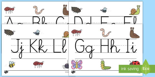 Recta alfabética de exposición: Bichos - Bichos, insectos, caligrafía, escritura,Spanish