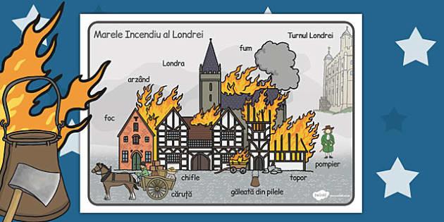 Marele Incendiu al Londrei - planșă, vocabular, imagini, Romanian