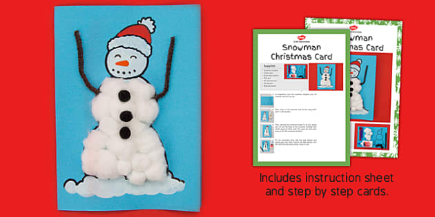 Snowman Christmas Card Craft Instructions - snowman, frosty the snowman