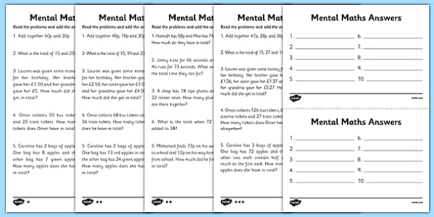 Mental Maths Adding Worksheets - maths worksheet, mental maths