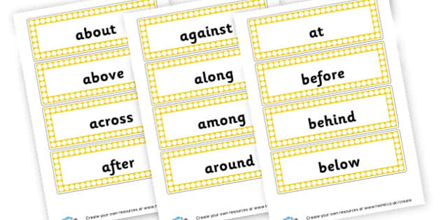 Prepositions Word Cards - Words and Vocab Prepositions Primary Resources - Literacy Words a