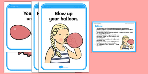 Foundation PE (Reception) Balloons Cool-Down Activity Card - physical activity, foundation stage, physical development, games, dance, gymnastics