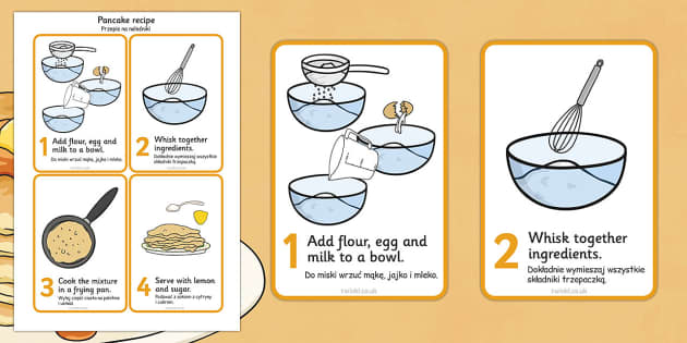 Pancake Recipe Sheet Polish Translation - Polish, Pancake day, recipe, pancake, shrove Tuesday, pancakes, recipe card, making pancakes, display poster, recipe information