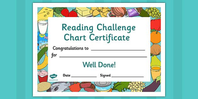 Reading Challenge Chart Certificates Food Themed - awards, record, celebrate, celebration, early years, ks1, ks2, target,