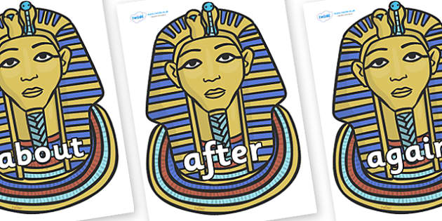 KS1 Keywords on Tutankhamun - KS1, CLL, Communication language and literacy, Display, Key words, high frequency words, foundation stage literacy, DfES Letters and Sounds, Letters and Sounds, spelling