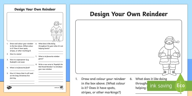 Design Your Own Reindeer Activity Sheet