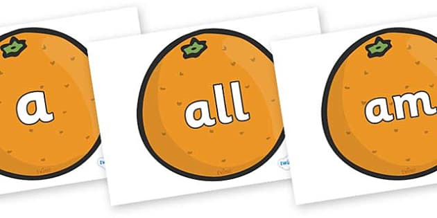 Foundation Stage 2 Keywords on Oranges - FS2, CLL, keywords, Communication language and literacy,  Display, Key words, high frequency words, foundation stage literacy, DfES Letters and Sounds, Letters and Sounds, spelling