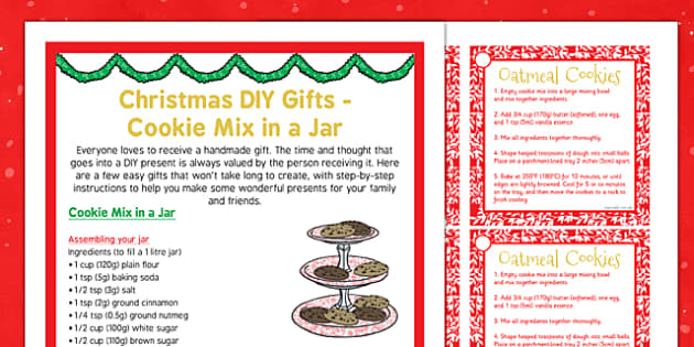 Christmas DIY Gifts Cookie Mix in a Jar - christmas, diy, gifts, cookie mix, jar