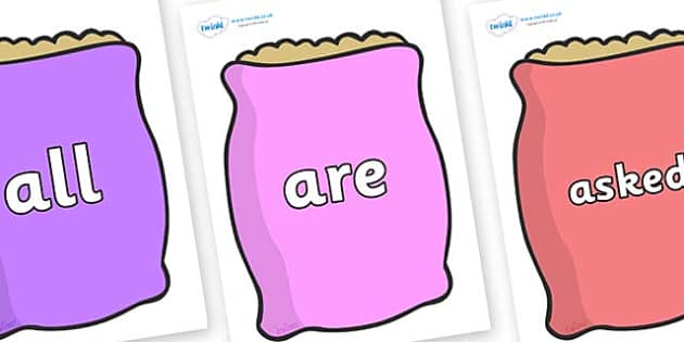 Tricky Words on Bags - Tricky words, DfES Letters and Sounds, Letters and sounds, display, words