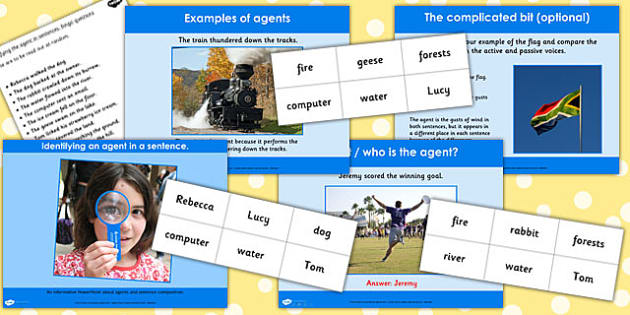 Identifying an Agent in a Sentence Lesson Teaching Pack - plan