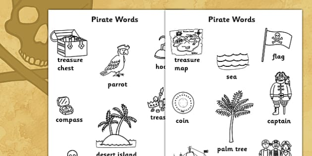 Pirate Words Colouring Sheets - pirate, pirate words, colouring