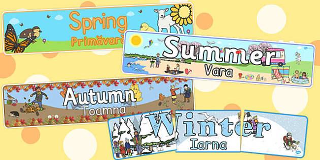 Four Seasons Display Banners English/Romanian - romanian, four, seasons, display banner