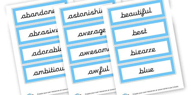 Adjective Word Cards - Adjectives Primary Resources, cll, wow, keywords, describing words