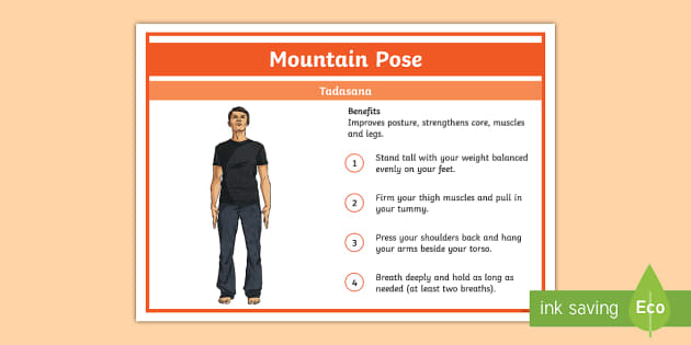 Yoga Mountain Pose Step-by-Step Instructions - Yoga, health, stress, calm, peace, KS1, KS2, well being, anxiety, work life balance, WLB