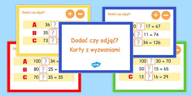 Karty z wyzwaniami Dodawanie i odejmowanie po polsku