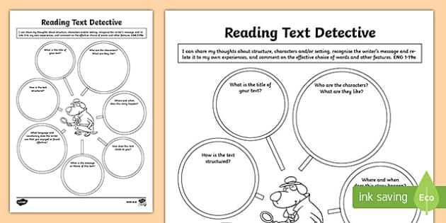 CfE First Level Literacy and English Reading Text Detective Activity Sheet-Scottish