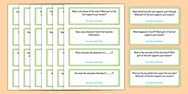 Common Core Fourth Grade Reading Literature Question Stem Cards USA - American, comprehension, prompts, story, non-fiction, English