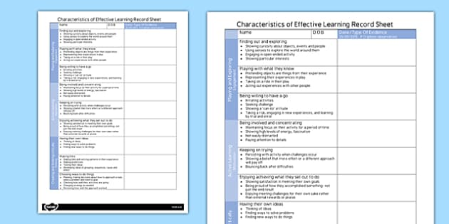 Characteristics of Effective Learning Record Sheet - record sheet