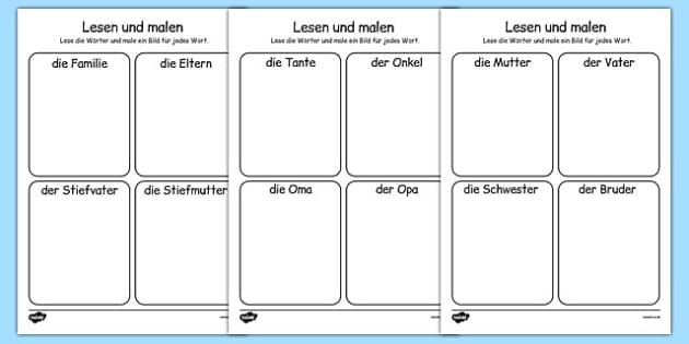 Die Familie Read and Draw Worksheet German - german, my family, read, draw, worksheet, activity