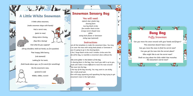 Puffy Snowman Busy Bag Prompt Card and Resource Pack - The Snowman, Raymond Briggs, Christmas, winter, snow, shaving foam