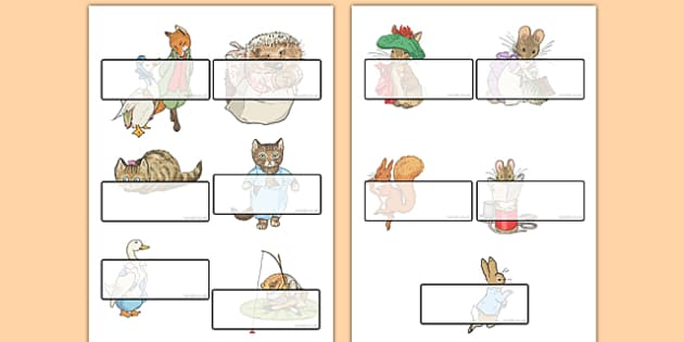 Beatrix Potter Self Registration Labels - beatrix potter, author, self-registration, labels