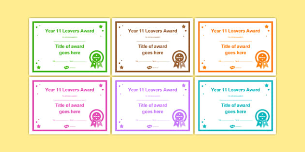 Year 11 Leavers Award Certificates Editable Template - year 11, leavers award, certificates, leaver, award, transition, ks4
