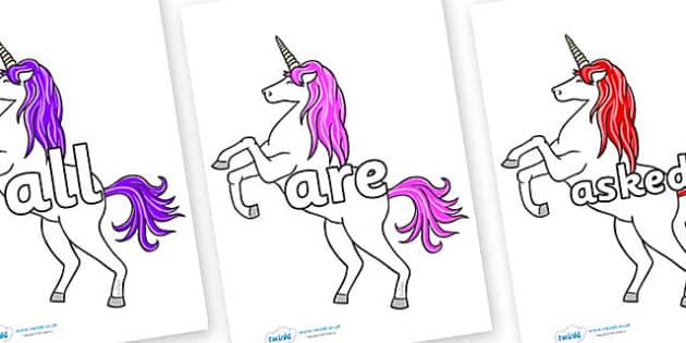 Tricky Words on Unicorn - Tricky words, DfES Letters and Sounds, Letters and sounds, display, words