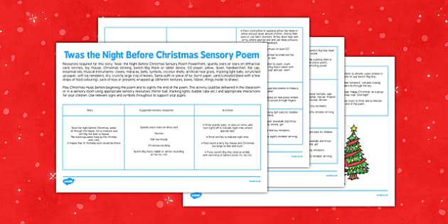 Twas the Night Before Christmas Sensory Poem - twas the night before christmas, sensory poem, poem, sensory