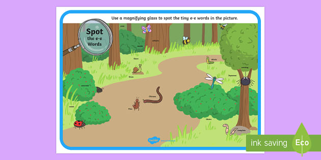 Phase 5 e-e Words Minibeasts Scene Magnifying Glass Activity Sheet