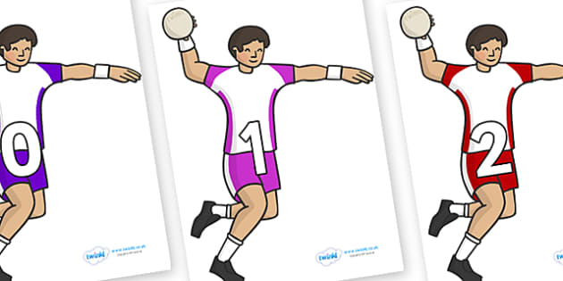 Numbers 0-31 on Handball Players - 0-31, foundation stage numeracy, Number recognition, Number flashcards, counting, number frieze, Display numbers, number posters