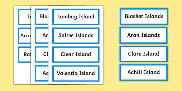 Islands of Ireland Word Cards