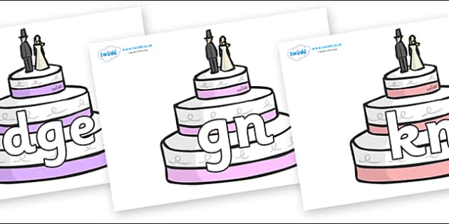 Silent Letters on Wedding Cakes - Silent Letters, silent letter, letter blend, consonant, consonants, digraph, trigraph, A-Z letters, literacy, alphabet, letters, alternative sounds