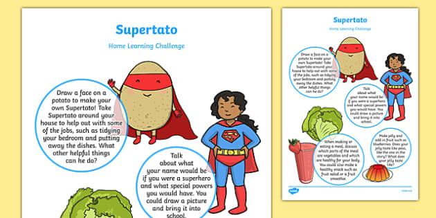 Home Learning Challenge Sheet to Support Teaching on Supertato Nursery FS1