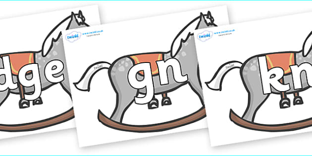 Silent Letters on Rocking Horses - Silent Letters, silent letter, letter blend, consonant, consonants, digraph, trigraph, A-Z letters, literacy, alphabet, letters, alternative sounds
