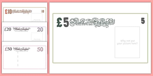 Maths Intervention Large Bank Note Design Templates - SEN, special needs, maths, money, counting money, recognising money, adding money, coins, notes