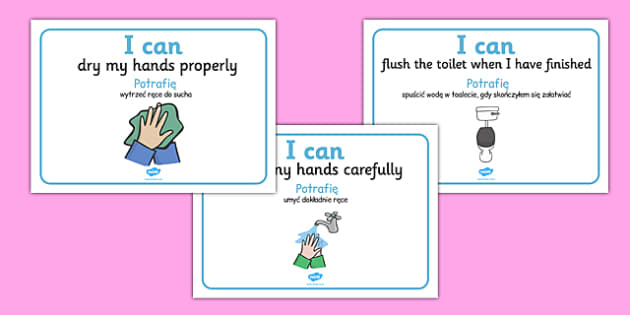 I Can Toilet Signs Home Polish Translation - polish, I can, toilet, sign, display, home