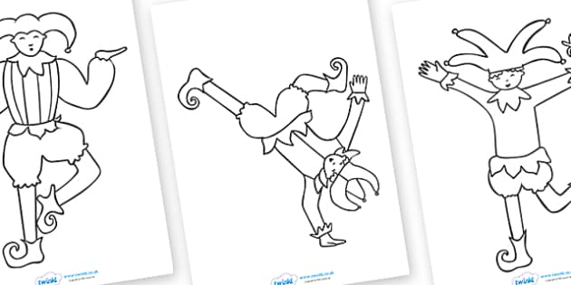 Jester Templates Colouring Sheets - jester, colouring, fine motor skills, template, poster, worksheet, vines, A4, display, templates