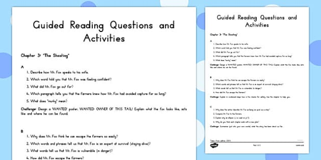 Guided Reading Questions Chapter 3 to Support Teaching on Fantastic Mr Fox - australia