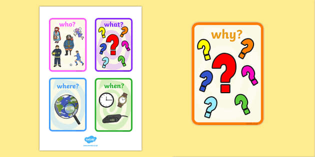 The Five Ws Word Cards - the five Ws, cards, who, what where, when, why, literacy, english, literacy cards, english cards, W cards, classroom cards, writing