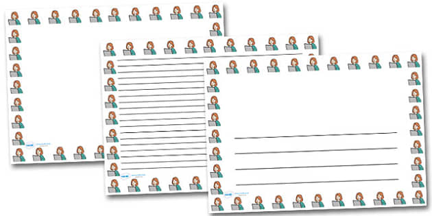 Woman and Computer Landscape Page Borders- Landscape Page Borders - Page border, border, writing template, writing aid, writing frame, a4 border, template, templates, landscape