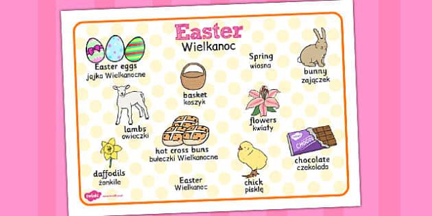Easter Word Mat Polish Translation - religion, celebration, words