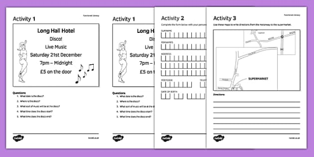 Functional Literacy Activity Sheet Pack - functional literacy, sen, activity, sheet, pack, worksheet