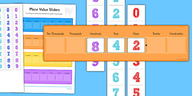 Place Value Maths Sliders Including Tenths and Hundredths - place value, maths, sliders, tenths, hundredths